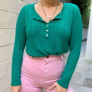 Vintage Henley Sweater Top